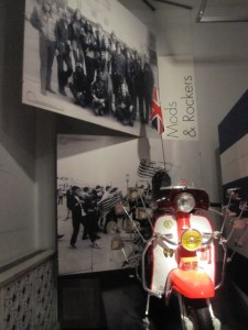 I also learned a little pop culture about the Mods and Rockers, who were conflicting youth subcultures in the 1960's. There was a big conflict in Brighton in 1964 between the two groups. Mod moped on display.