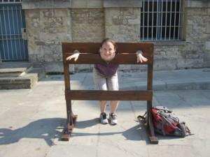 Naturally, I had to go in the stockade.