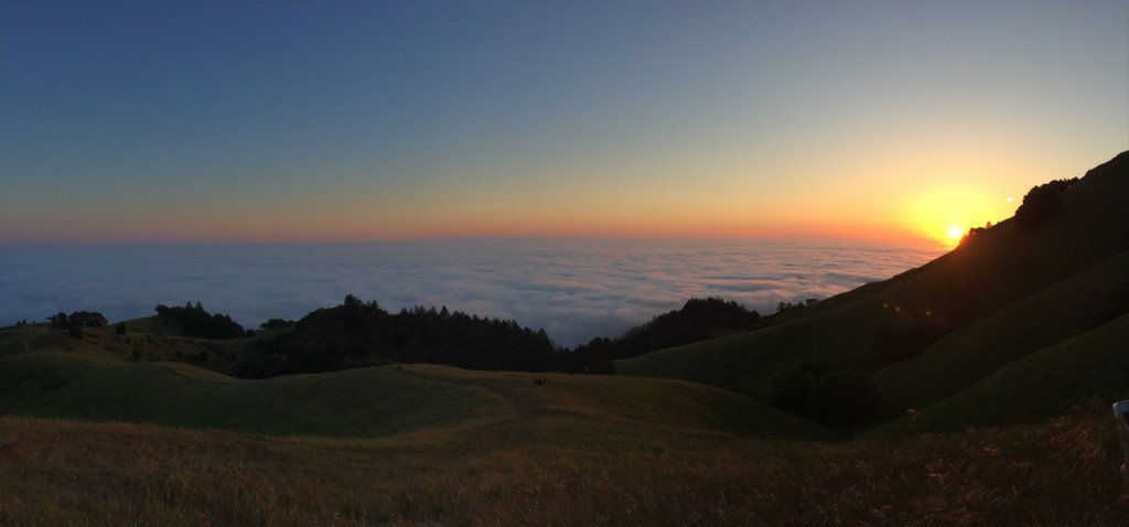This is one of the most stunning sunsets I have ever seen. We were situated above the coastal fog, approximately on O'Rourke's Bench in Mt. Tamalpais State Park. Phenomenal.