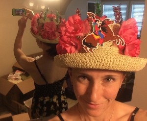 A closeup and two-sided view of my stunning DIY Derby hat.