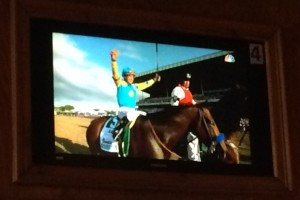 A picture of the TV in the sports bar where I saw American Pharoah win the Triple Crown - hooray!