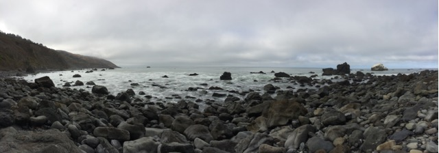 This cobblestone beach was where we started our second day of hiking, it was immediately below the cliff in the picture above.