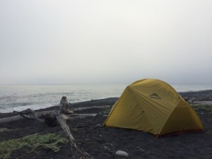 Third night campsite, we crept closer to the ocean each night.