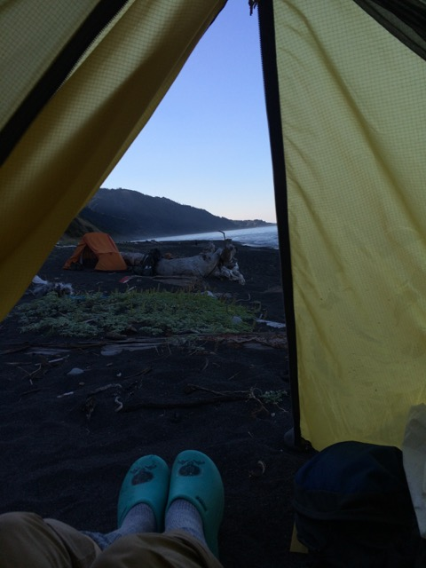 With my Bandito camp shoes on, I greeted the morning of our final day on the Lost Coast.
